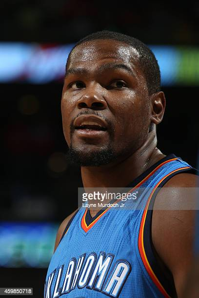 Kevin Durant of the Oklahoma City Thunder during the game against the New Orleans Pelicans on December 2 2014 at the Smoothie King Center in New...