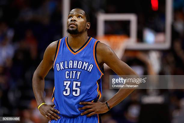 Kevin Durant of the Oklahoma City Thunder during the second half of the NBA game against the Phoenix Suns at Talking Stick Resort Arena on February 8...