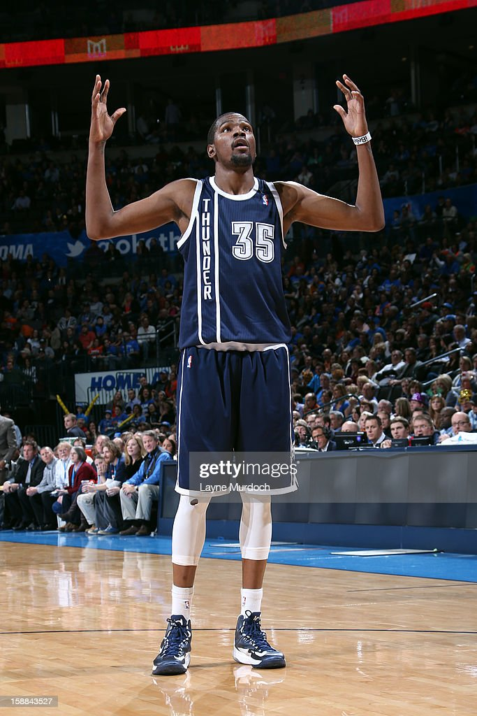 Kevin Durant #35 of the Oklahoma City Thunder gets pumped up against the Phoenix Suns during an NBA game on December 31, 2012 at the Chesapeake Energy Arena in Oklahoma City, Oklahoma.