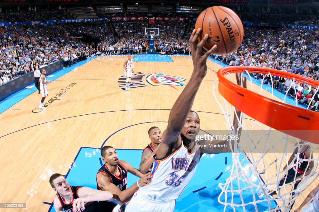 Kevin Durant #35 of the Oklahoma City Thunder goes to the basket against the Portland Trail Blazers on November 2, 2012 at the Chesapeake Energy Arena in Oklahoma City, Oklahoma.