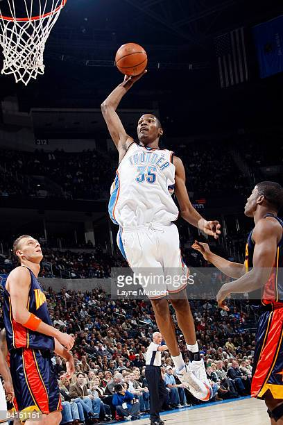 Kevin Durant of the Oklahoma City Thunder goes up for a dunk against the Golden State Warriors on December 31 2008 at the Ford Center in Oklahoma...