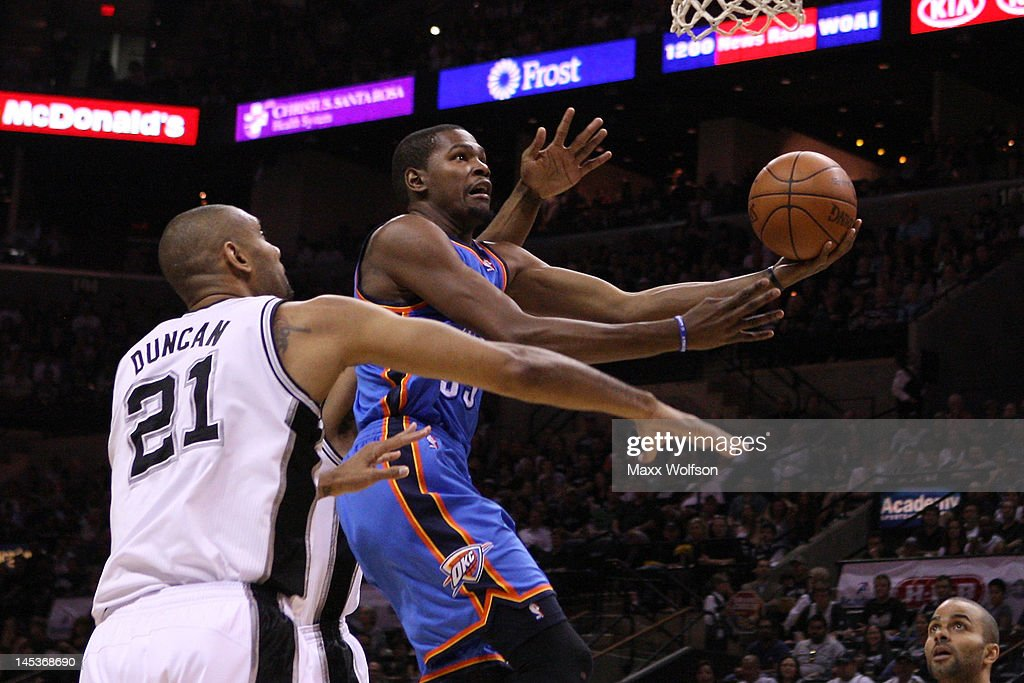 Kevin Durant #35 of the Oklahoma City Thunder goes up for a shot against Tim Duncan #21 of the San Antonio Spurs in the first quarter in Game One of the Western Conference Finals of the 2012 NBA Playoffs at AT&T Center on May 27, 2012 in San Antonio, Texas.