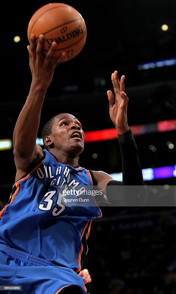 00c1d442bebe Kevin Durant of the Oklahoma City Thunder goes up for a shot against ...