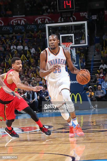 Kevin Durant of the Oklahoma City Thunder handles the ball against the Atlanta Hawks on December 10 2015 at Chesapeake Energy Arena in Oklahoma City...