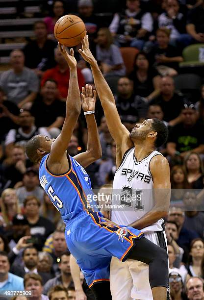 Kevin Durant of the Oklahoma City Thunder has his shot blocked by Tim Duncan of the San Antonio Spurs in the first quarter in Game Two of the Western...