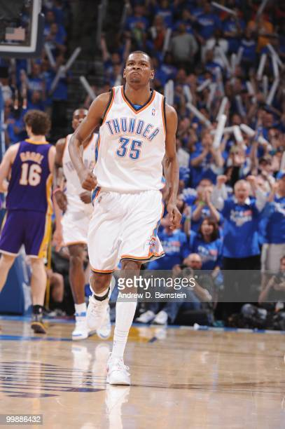 Kevin Durant of the Oklahoma City Thunder heads upcourt against the Los Angeles Lakers in Game Six of the Western Conference Quarterfinals during the...