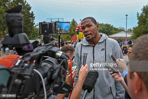 Kevin Durant of the Oklahoma City Thunder hosts a court dedication on October 05 2015 at North Highland Elementary School in Oklahoma City Oklahoma...