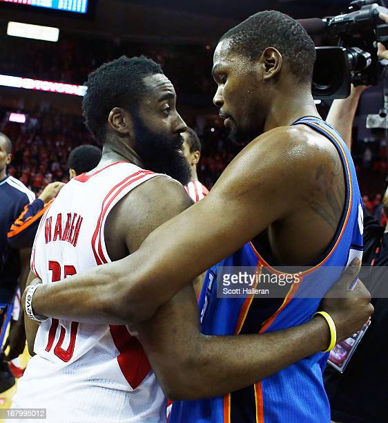 Kevin Durant of the Oklahoma City Thunder hugs James Harden of the Houston Rockets after the Thunder defeated the Rockets 10394 in Game Six of the...