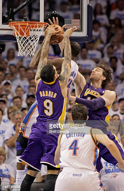 Kevin Durant of the Oklahoma City Thunder is doubleteamed by Matt Barnes and Pau Gasol of the Los Angeles Lakers in Game Two of the Western...