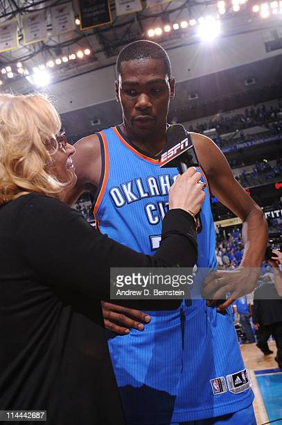 Kevin Durant of the Oklahoma City Thunder is interviewed by Doris Burke of ESPN after defeating the Dallas Mavericks in Game Two of the Western...