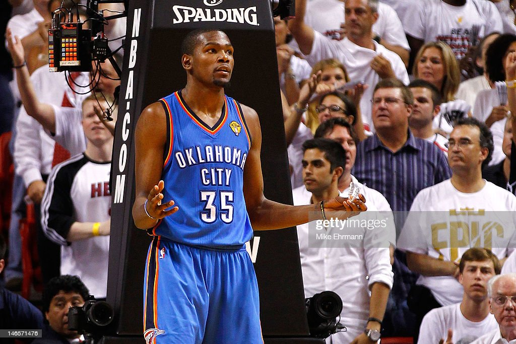 Kevin Durant #35 of the Oklahoma City Thunder looks on dejected in the second half against the Miami Heat in Game Four of the 2012 NBA Finals on June 19, 2012 at American Airlines Arena in Miami, Florida.