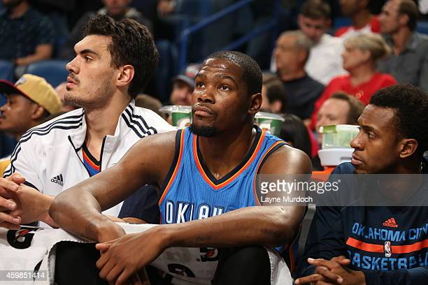 Kevin Durant of the Oklahoma City Thunder looks on during the game against the New Orleans Pelicans on December 2 2014 at the Smoothie King Center in...