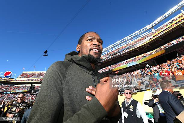 Kevin Durant of the Oklahoma City Thunder looks on during warm ups prior to Super Bowl 50 between the Denver Broncos and the Carolina Panthers at...