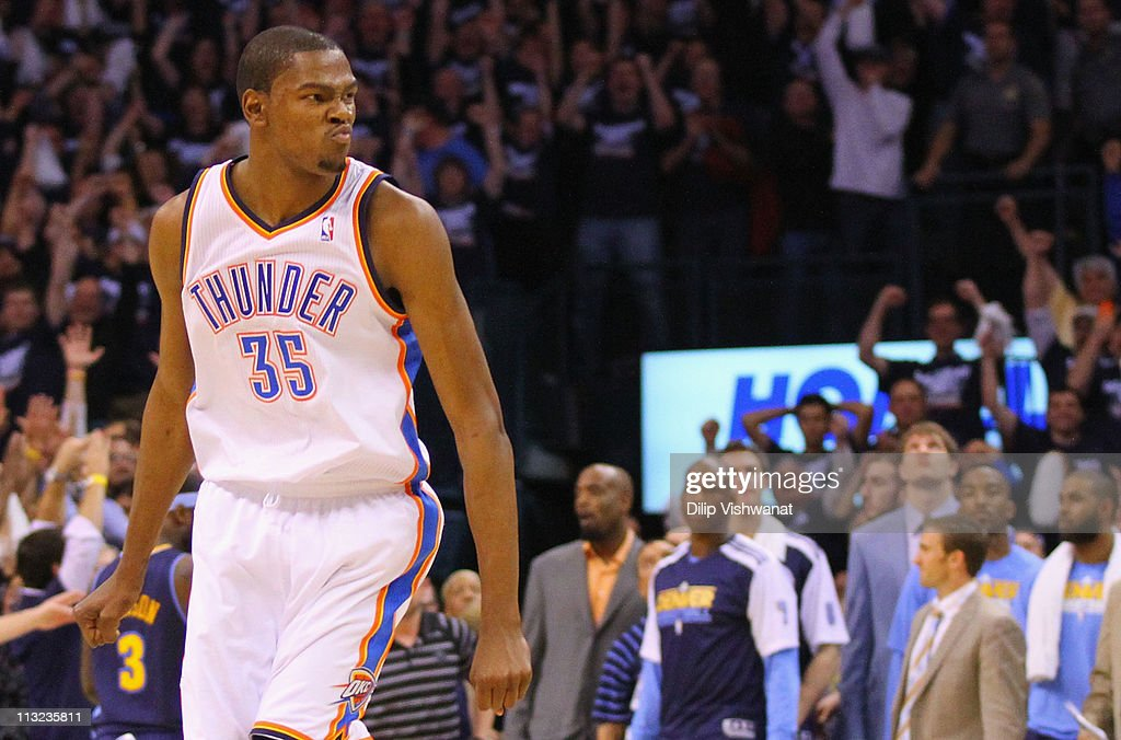 Kevin Durant #35 of the Oklahoma City Thunder looks to the bench after hitting a key three-point shot against the Denver Nuggets in Game Five of the Western Conference Quarterfinals in the 2011 NBA Playoffs on April 27, 2011 at the Ford Center in Oklahoma City, Oklahoma.
