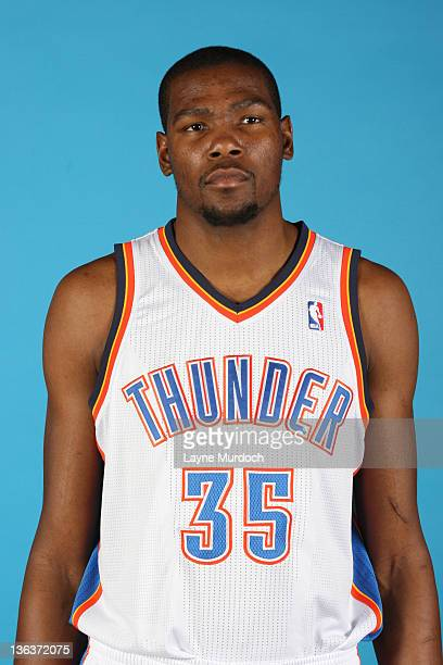 Kevin Durant of the Oklahoma City Thunder poses for a portrait during 2011 NBA Media Day on December 13 2011 at the Oklahoma City Arena in Oklahoma...