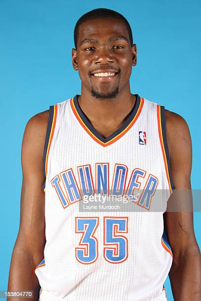 Kevin Durant of the Oklahoma City Thunder poses for a portrait during 2012 NBA Media Day on October 1 2012 at the Thunder Events Center in Edmond...