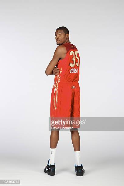Kevin Durant of the Oklahoma City Thunder poses for a portrait wearing his AllStar uniform on January 25 2011 at the Target Center in Minneapolis...