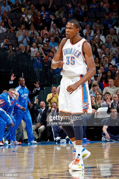 Kevin Durant of the Oklahoma City Thunder reacts after a play against the Minnesota Timberwolves on March 25 2011 at the Oklahoma City Arena in...