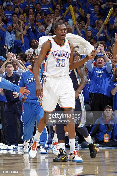 Kevin Durant of the Oklahoma City Thunder reacts after a play against the Memphis Grizzlies during Game Two of the Western Conference Semifinals in...