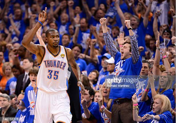 Kevin Durant of the Oklahoma City Thunder reacts after making a shot in the second half in Game One of the 2012 NBA Finals at Chesapeake Energy Arena...