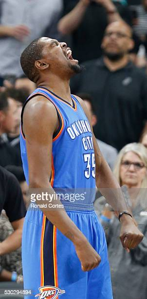 Kevin Durant of the Oklahoma City Thunder reacts before the start of the game against San Antonio Spurs in game Five of the Western Conference...