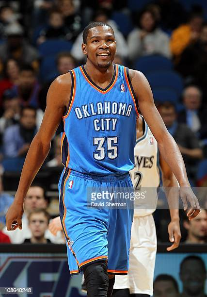 Kevin Durant of the Oklahoma City Thunder reacts during the game against the Minnesota Timberwolves during the game on January 26 2011 at Target...