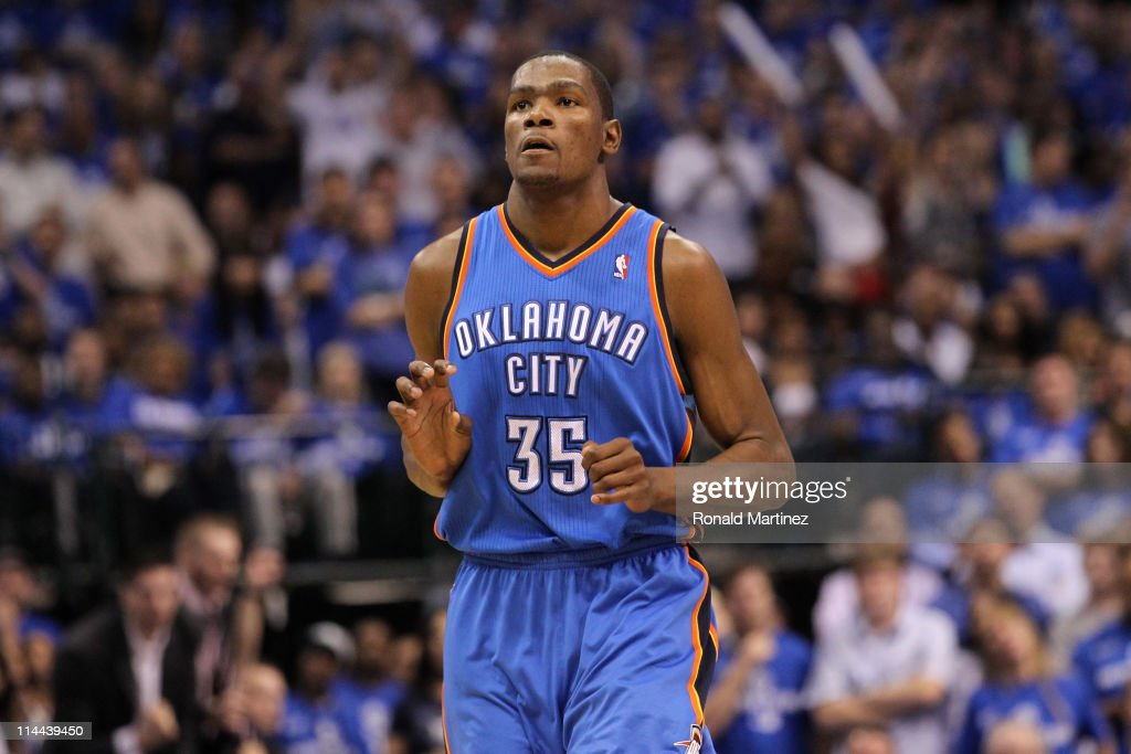 Kevin Durant #35 of the Oklahoma City Thunder reacts in the fourth quarter while taking on the Dallas Mavericks in Game Two of the Western Conference Finals during the 2011 NBA Playoffs at American Airlines Center on May 19, 2011 in Dallas, Texas.