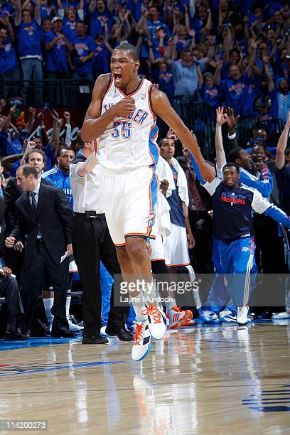 Kevin Durant of the Oklahoma City Thunder reacts to a play against the Memphis Grizzlies in Game Seven of the Western Conference Semifinals during...