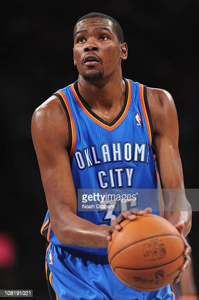 Kevin Durant of the Oklahoma City Thunder shoots a free throw during a game against the Los Angeles Lakers at the Staples Center on January 17 2011...