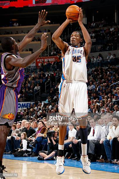 Kevin Durant of the Oklahoma City Thunder shoots a jump shot over Jason Richardson of the Phoenix Suns on February 23 2010 at the Ford Center in...