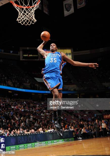 Kevin Durant of the Oklahoma City Thunder shoots against the New Jersey Nets during the game on December 28 2009 at the Izod Center in East...
