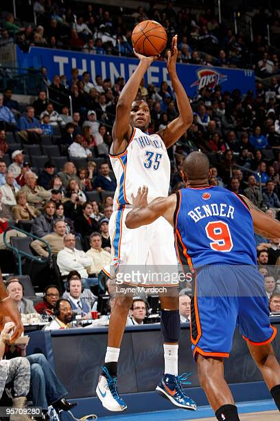 Kevin Durant of the Oklahoma City Thunder shoots over Jonathan Bender of the New York Knicks on January 11 2010 at the Ford Center in Oklahoma City...