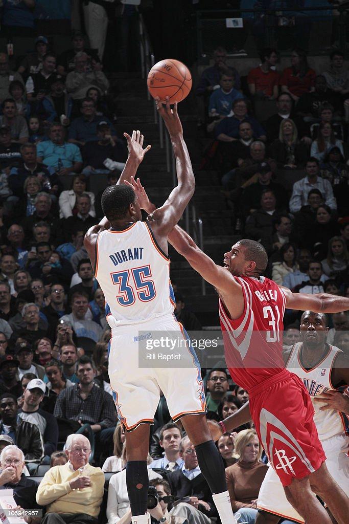 Kevin Durant # 35 of the Oklahoma City Thunder shoots the ball against Shane Battier # 31 of the Houston Rockets on November 17, 2010 at the Oklahoma City Arena in Oklahoma City, Oklahoma.