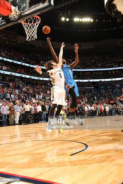 Kevin Durant of the Oklahoma City Thunder shoots the ball against the New Orleans Pelicans during the game on December 2 2014 at the Smoothie King...