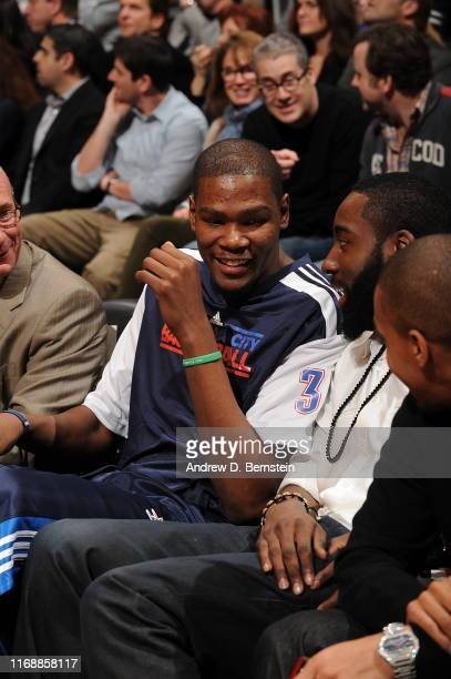 Kevin Durant of the Oklahoma City Thunder smiles during the Taco Bell Skills Challenge at Staples Center on February 19, 2011 in Los Angeles,...