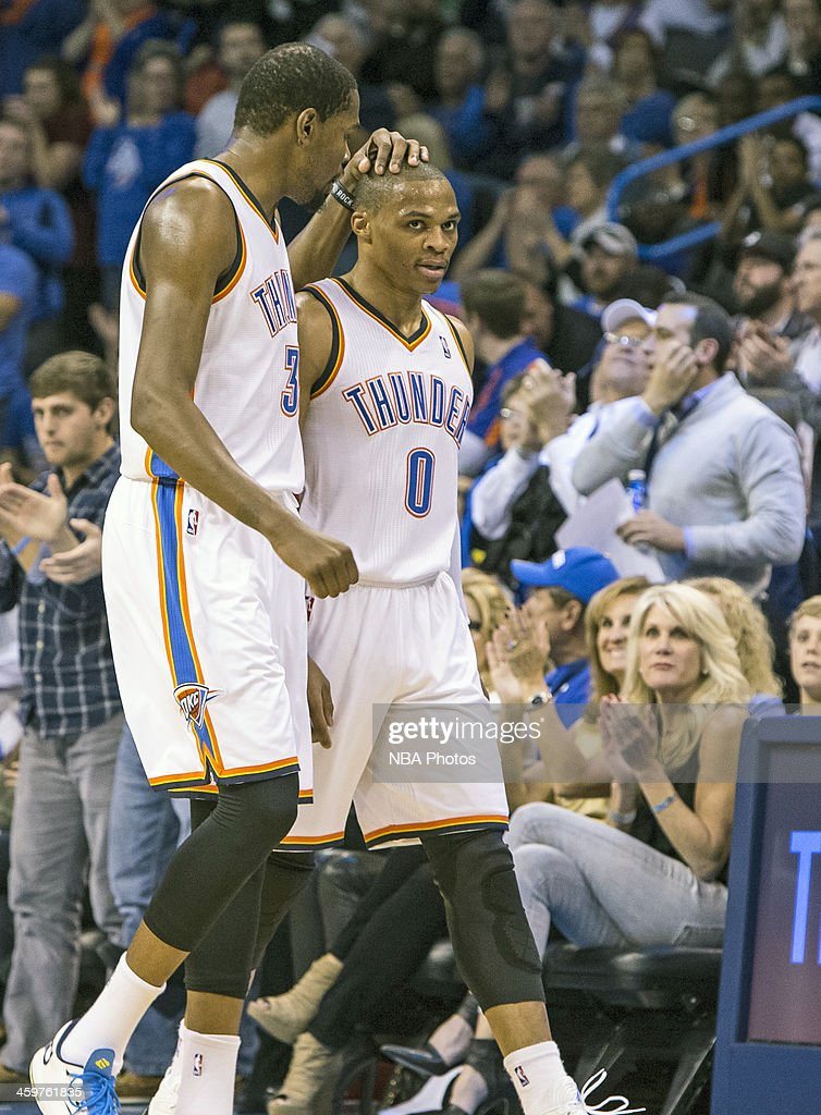 Kevin Durant 35 Of The Oklahoma City Thunder Speaks With Russell Westbrook 0 During