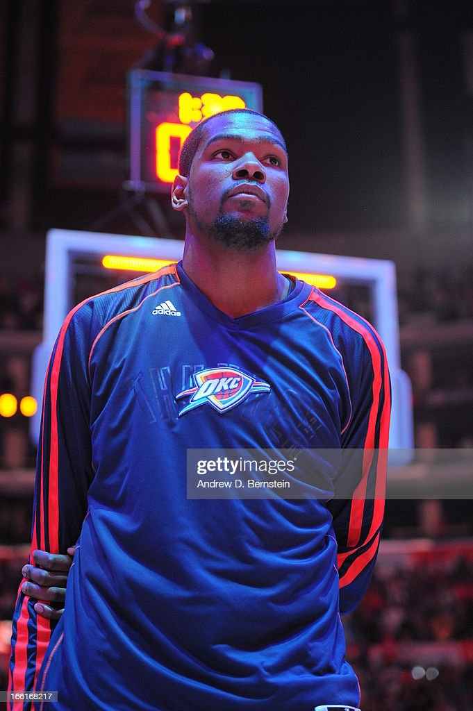 Kevin Durant #35 of the Oklahoma City Thunder stands on the court before the game against the Los Angeles Clippers at Staples Center on March 3, 2013 in Los Angeles, California.