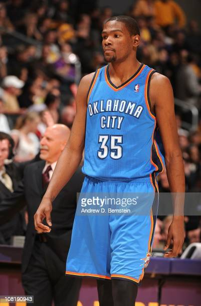 Kevin Durant of the Oklahoma City Thunder stands on the court during a game against the Los Angeles Lakers at Staples Center on January 17 2011 in...