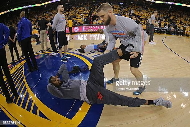 Kevin Durant of the Oklahoma City Thunder stretches before Game Five of the Western Conference Finals against the Golden State Warriors during the...