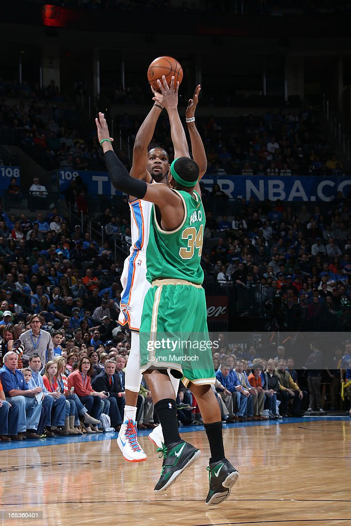 Kevin Durant #35 of the Oklahoma City Thunder takes a shot against the Boston Celtics on March 10, 2013 at the Chesapeake Energy Arena in Oklahoma City, Oklahoma.