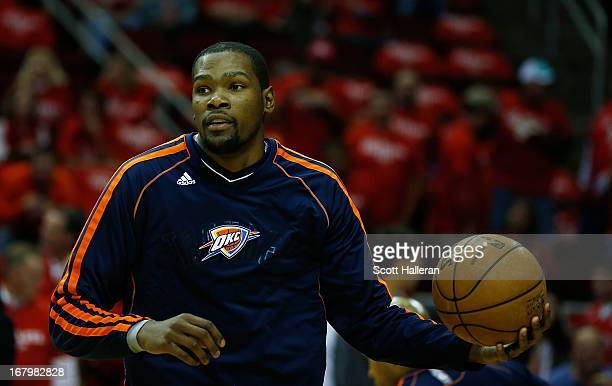 Kevin Durant of the Oklahoma City Thunder waits on the court before the game against the Houston Rockets in Game Six of the Western Conference...