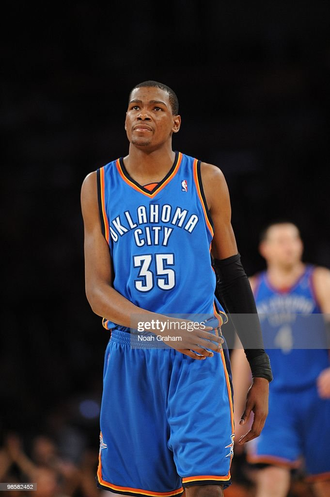 4cea66a23849 Kevin Durant of the Oklahoma City Thunder walks off the court ...