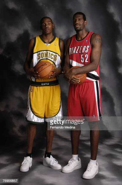 Kevin Durant of the Seattle SuperSonics and Greg Oden of the Portland Trailblazers pose for a portrait during the 2007 NBA Rookie Photo Shoot on July...
