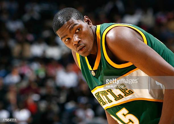 Kevin Durant of the Seattle SuperSonics awaits a free throw by the Atlanta Hawks during the first half at Philips Arena November 16 2007 in Atlanta...