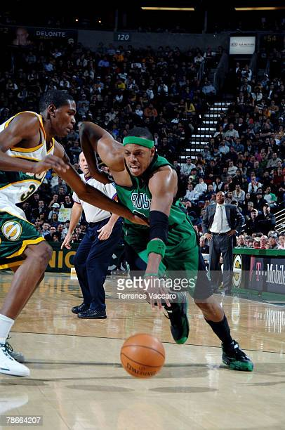 Kevin Durant of the Seattle SuperSonics defends the drive of Paul Pierce of the Boston Celtics on December 27 2007 at the Key Arena in Seattle...