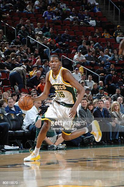 Kevin Durant of the Seattle SuperSonics dribbles the ball downcourt against the Sacramento Kings during the game on March 30 2008 at Key Arena in...