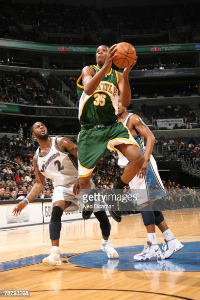 Kevin Durant of the Seattle SuperSonics drives against DeShawn Stevenson of the Washington Wizards at the Verizon Center on January 6 2008 in...