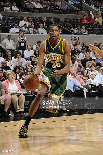 Kevin Durant of the Seattle SuperSonics drives to the basket during the game against the San Antonio Spurs at the ATT Center on April 11 2008 in San...