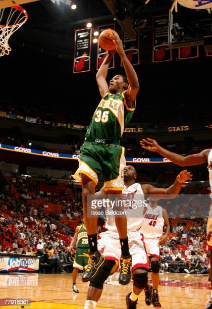 Kevin Durant of the Seattle SuperSonics dunks against the Miami Heat on November 14 2007 at the American Airlines Arena in Miami Florida NOTE TO USER...