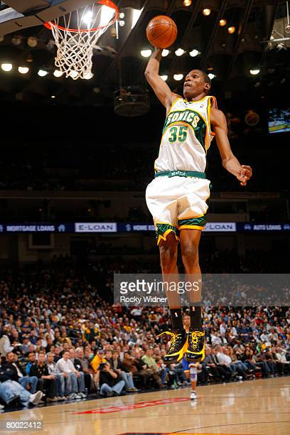 Kevin Durant of the Seattle SuperSonics dunks the ball against the Golden State Warriors on February 26 2008 at Oracle Arena in Oakland California...